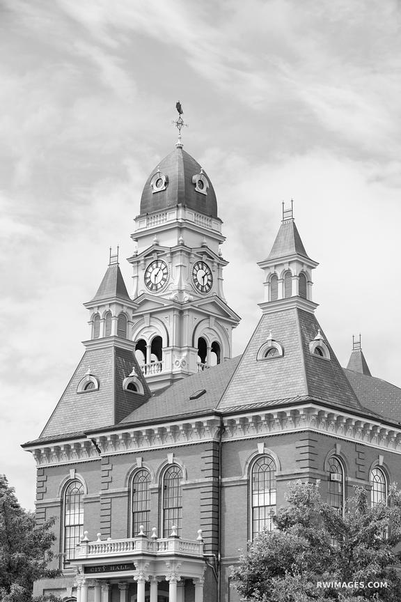 CITY HALL GLOUCESTER CAPE ANN MASSACHUSETTS BLACK AND WHITE VERTICAL