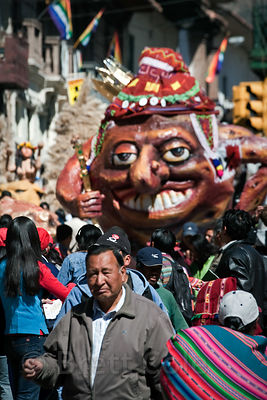 A parade float during Cusco Week festivities, Cusco, Peru