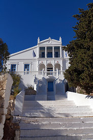 Town Hall, Village of Emborio, Chalki Island near Rhodes, Dodecanese Islands, Greece.