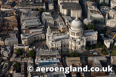 aerial photograph of St Pauls Cathedral London UK