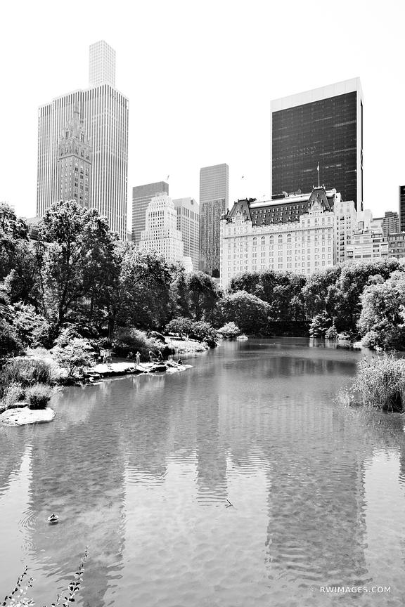 CENTRAL PARK POND PLAZA HOTEL NEW YORK CITY NEW YORK BLACK AND WHITE VERTICAL