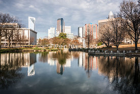 Charlotte Cityscape Reflection on Marshall Park Pond