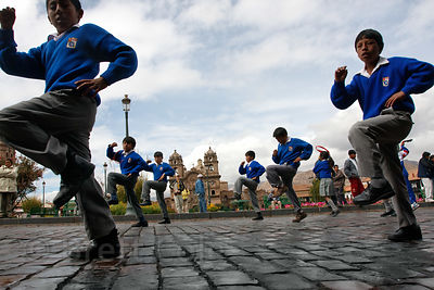 Students dancing during Cusco Week in Cusco, Peru