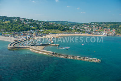 Aerial view of Lyme Regis , West Dorset, England,. Lyme Bay,.