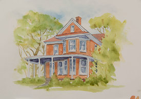 Potts House, original watercolor illustration, 16 x 19 framed