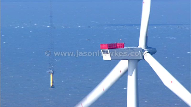 Aerial footage of Offshore wind farm