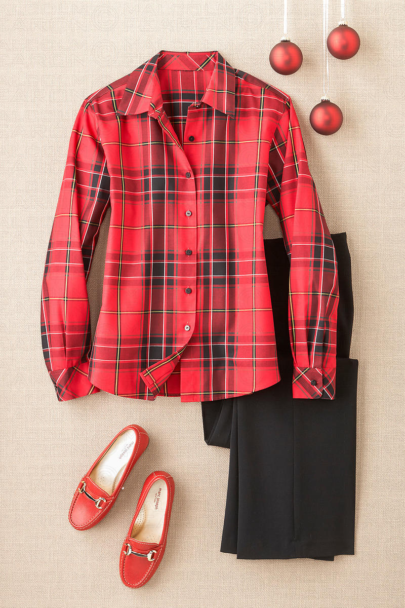 womens red plaid shirt black pants red shoes holiday decoration