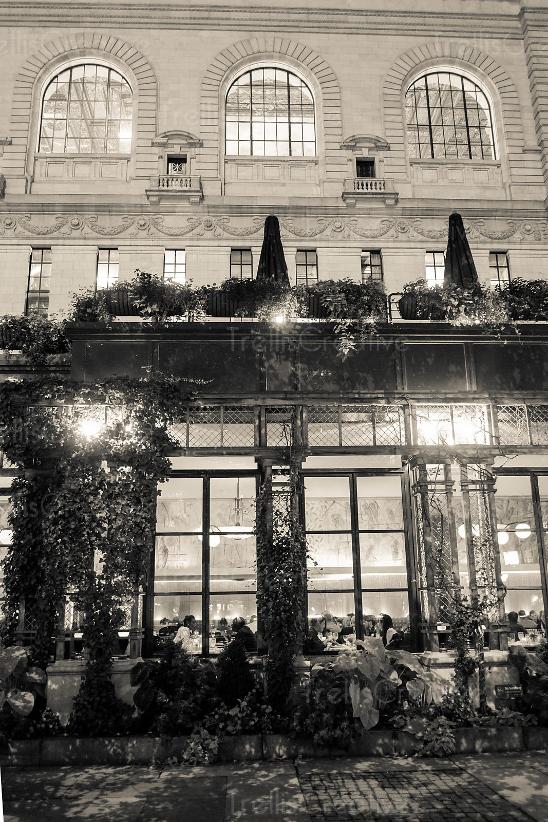 Exterior of hotel in black and white