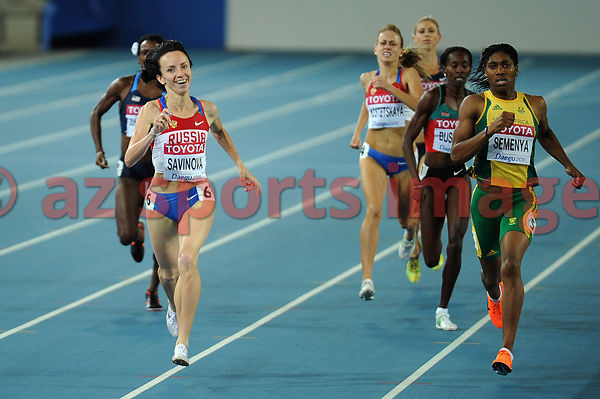 Mariya Savinova from Russia, smiles as she becomes the new world champion in the 800m, with 1:55:87 sec.