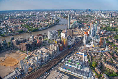 Nine Elms, London, aerial view. Elm Quay Court, Embassy Gardens, Embassy Gardens (Phase 2, Nine Elms Point Development, Riverlight, Riverlight Quay, South London Mail Centre, St George Wharf, Under Construction), United States Embassy