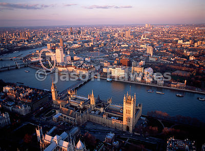 Aerial view of the Houses of Parliament, London