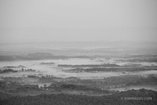 EARLY MORNING MIST SHENANDOAH VALLEY SHENANDOAH NATIONAL PARK VIRGINIA BLACK AND WHITE