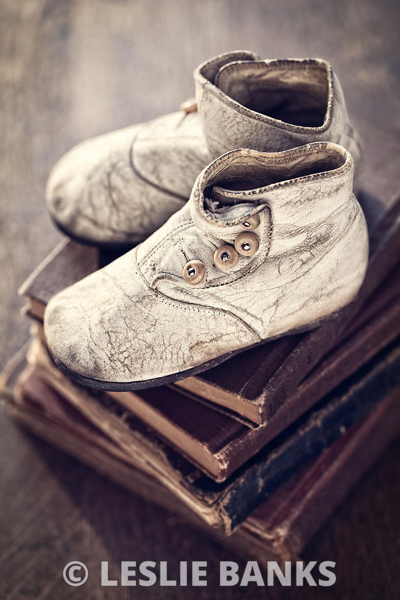 Vintage Baby Boots and Books