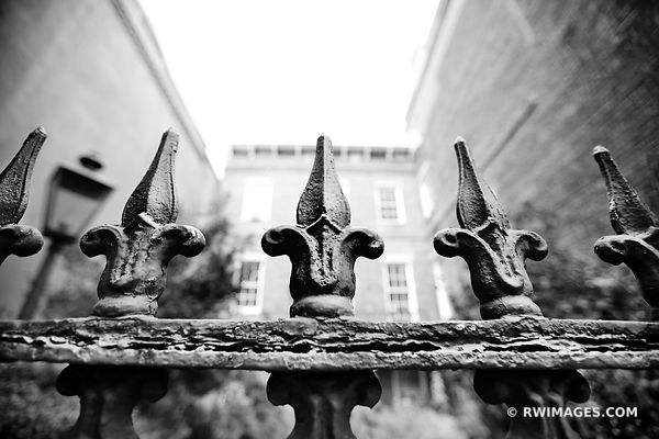 IRON FENCE HISTORIC SAVANNAH GEORGIA BLACK AND WHITE