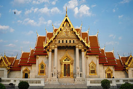 Wat Benchamabophit, a Buddhist temple in the Dusit district of Bangkok, Thailand. Also known as the marble temple.