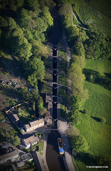aerial photograph of Bingley Five Rise Locks on the Leeds and Liverpool Canal.