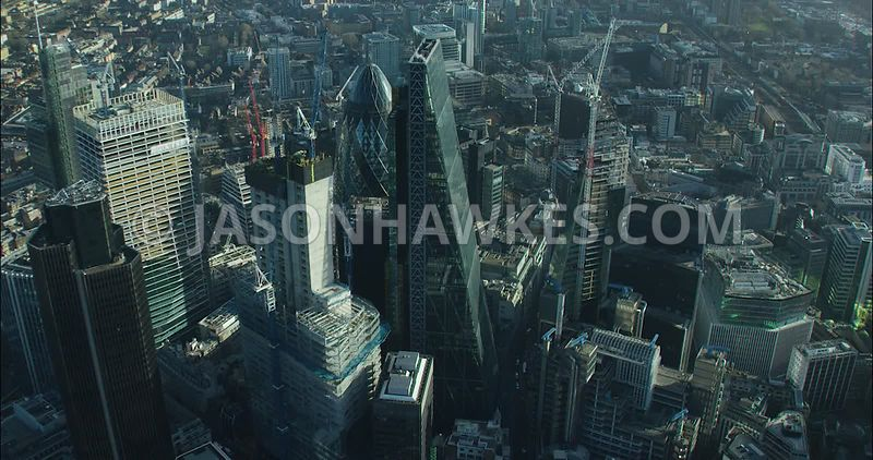 London Aerial footage, City of London with Leadenhall Building towards St Botolph's Building.