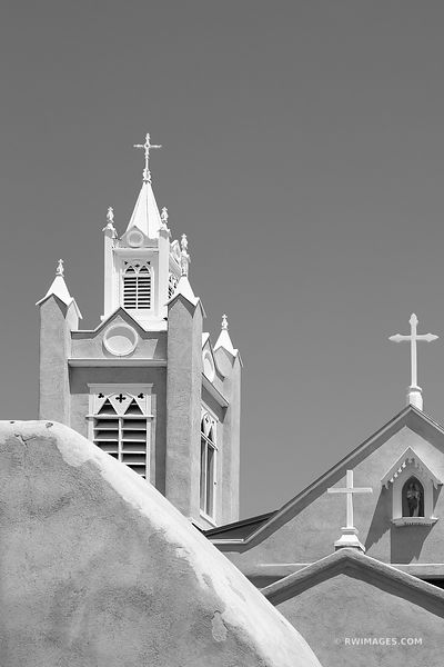 SAN FELIPE DE NERI CHURCH HISTORIC OLD TOWN ALBUQUERQUE NEW MEXICO BLACK AND WHITE VERTICAL