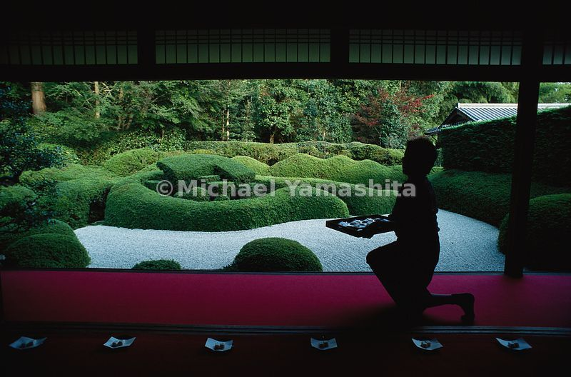At Daichi-ji near Kyoto, guests can sample tea cakes while savoring the undulating azalea hedge that is the garden.