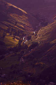 A track leading up to disused mines above Glenridding at sunset. English Lake District, UK.