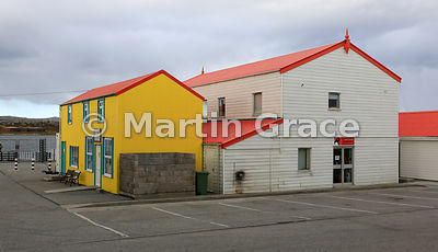 Colourful buildings by Stanley Harbour, Stanley, East Falkland, Falkland Islands