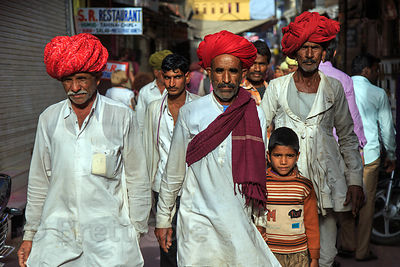 Striking group of pilgrims in Pushkar, Rajasthan, India