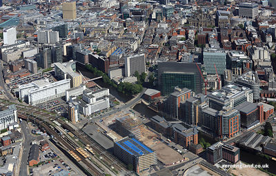 aerial photograph the Leftbank development and  Spinningfields Manchester England UK.