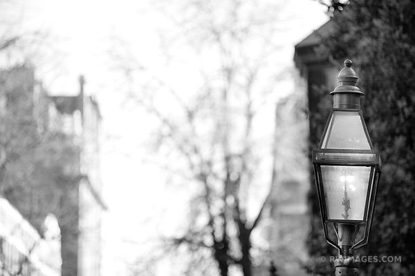 OLD STREET GAS LAMP BOSTON BLACK AND WHITE
