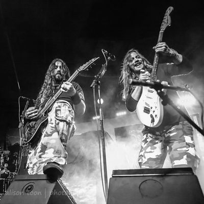 Chris Rörland and Thobbe Englund, guitar, Sabaton, Ace of Spades, Sacramento