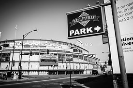 Wrigley Field and Wrigleyville Signs in Black and White