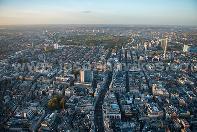 Aerial view of Westminster and Camden, London