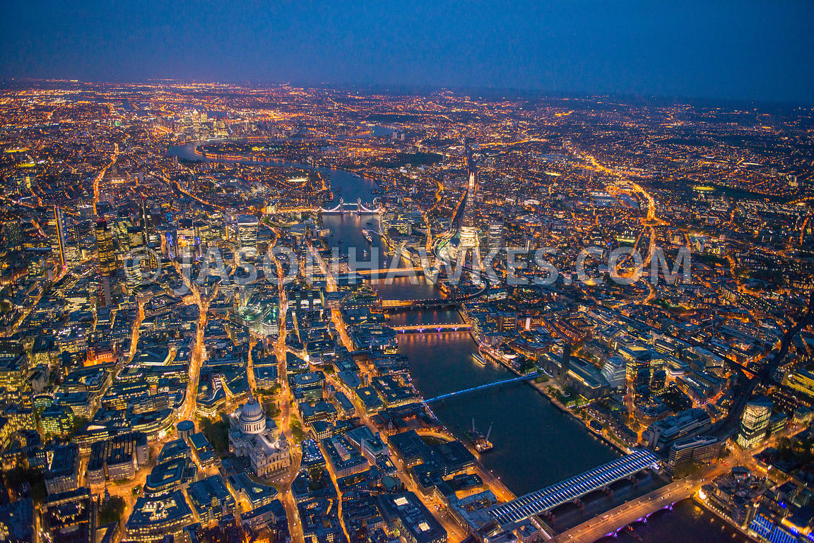 London, night aerial view.