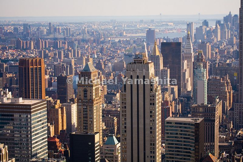 Looking south, towards Murray Hill and downtown Manhattan, the scale of buildings decreases.  New York City.