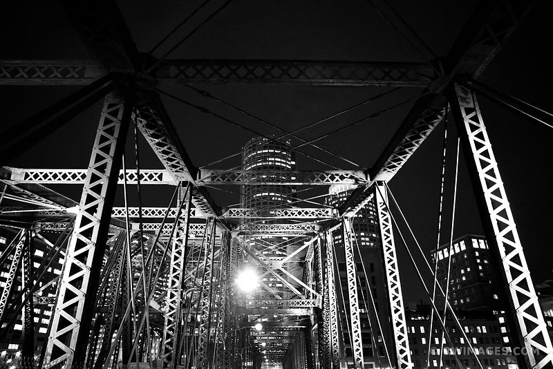 OLD NORTHERN AVENUE BRIDGE BOSTON HARBOR BLACK AND WHITE