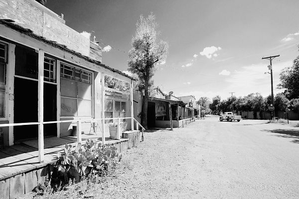 MAIN STREET RURAL TOWN OLD WEST TURQUOISE TRAIL NEW MEXICO BLACK AND WHITE