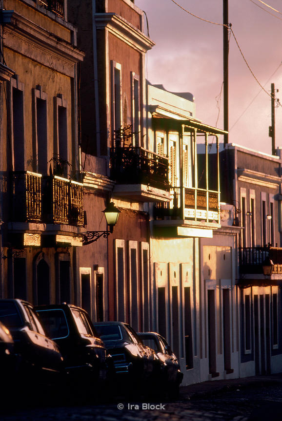 Late afternoon light along a row of houses in Old San Juan, Puerto Rico