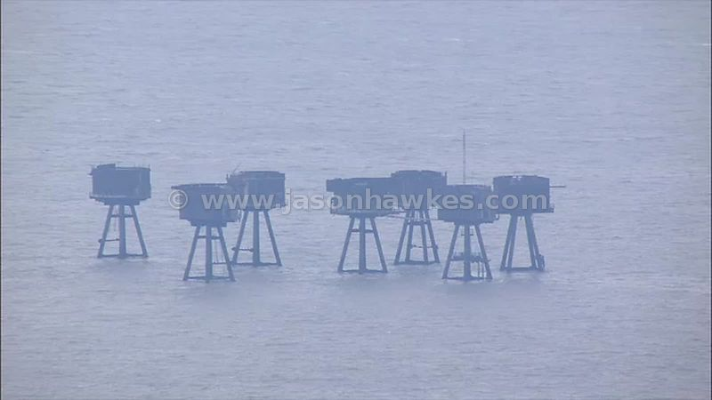 Aerial footage of The Maunsell Forts, Thames Estuary