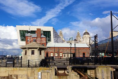 Canning Docks buildings with The Modern Architecture of the Museum of Liverpool Behind