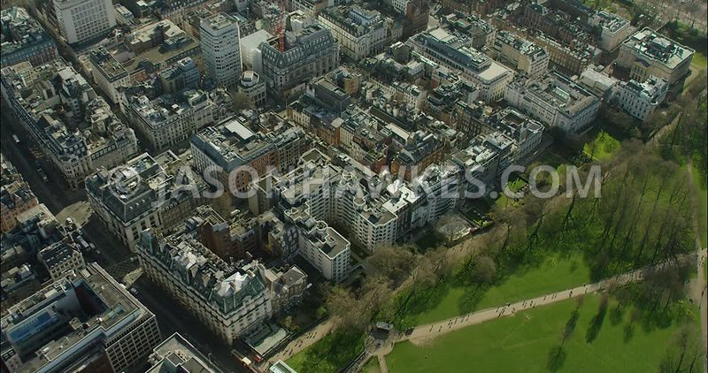 London Aerial Footage of Green Park and St James's Park.