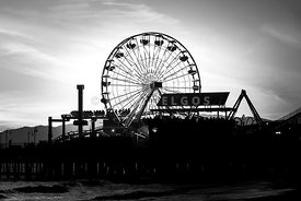 Santa Monica Ferris Wheel Black and White Photo