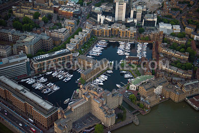 Aerial view of London, St Katharine Docks Marina, St George's in the East.