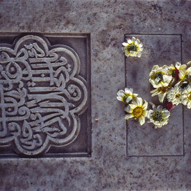 Flowers on the grave of Isa Khan in Humayun's Tomb
