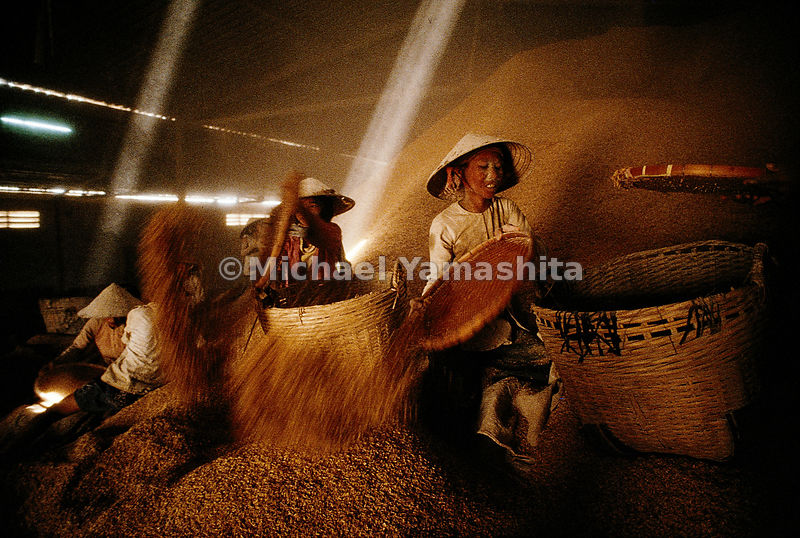 Women separate rice husks, used for animal feed, from the grain destined for human consumption by shaking the rice in woven baskets and throwing it into the air, bathing themselves in a shower of rice dust. The Mekong Delta, where Soc Trang is located, is the rice bowl of Vietnam.