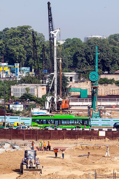 India - Delhi - Construction work by the ISBT bus station,