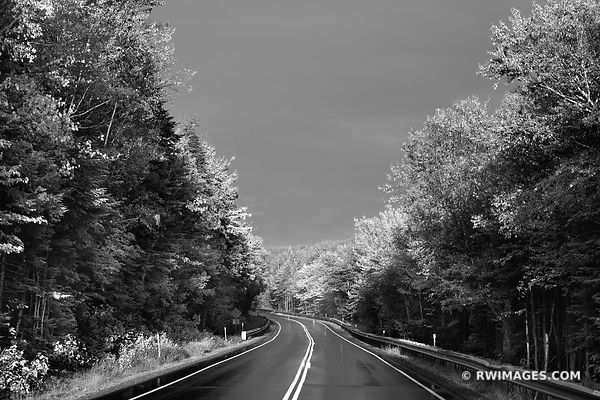 AUTUMN SUNSET DRIVING KANCAMAGUS HIGHWAY NEW HAMPSHIRE BLACK AND WHITE