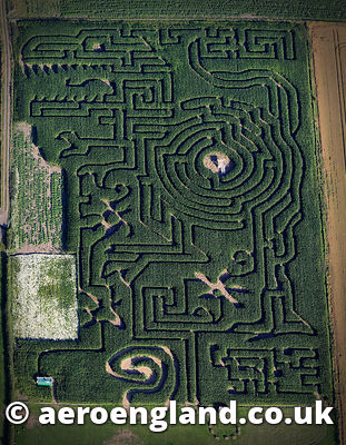 .aerial photograph of Copleys Corn Maze, Pontefract Rd, Featherstone WF7 5AF