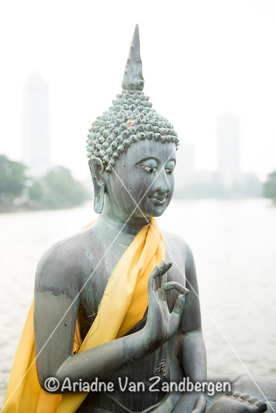 Statue at Seema Malaka Temple on Beira Lake, Colombo, Sri Lanka
