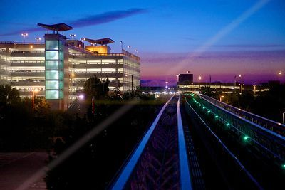 Sunset over the Birmingham  Airport AirRail Link Track