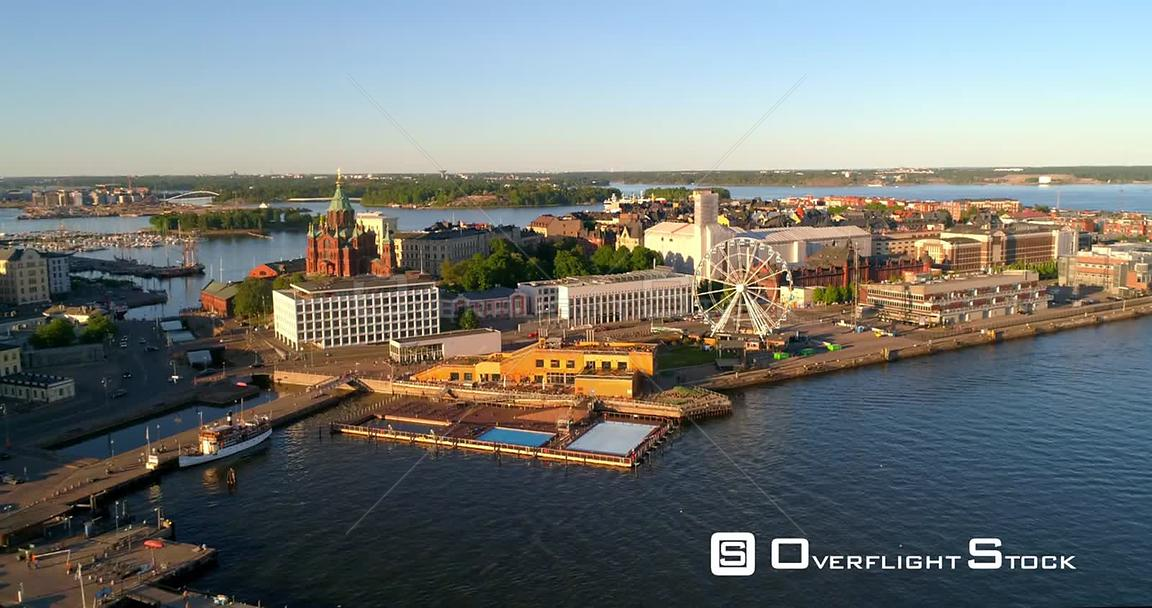 Helsinki Cityscape, Aerial View Katajanokka, Uspetski Cathedral and Helsinki Skywheel, on a Sunny Summer Evening Dusk, in Helsingfors, Uusimaa, Finland