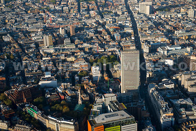 Aerial view of Centre Point and Oxford Street, London